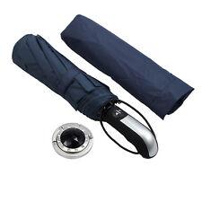 Dark Blue Auto Fold Portable Windproof Umbrella With 10 Fiberglass Frames
