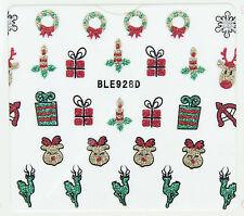 Christmas Glitter Snowflakes Reindeer Candles Gifts 3D Nail Art Stickers Decals