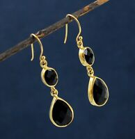 Solid 925 Sterling Silver Jewelry Black Onyx Gemstone Gold Plated Gift Earring