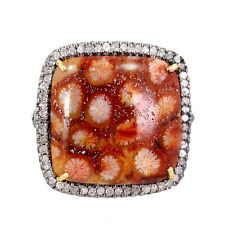 New Fossil Coral Gemstone 14k Gold Pave Diamond Ring 925 Silver Designer Jewelry
