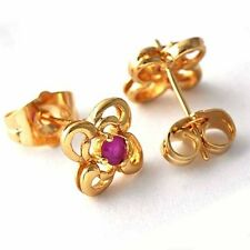 gorgeous small Red crystal crystal Gold plated womens Flower stud earrings
