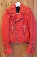 Balenciaga 2010 rouge à lèvres Cuir Moto Veste de motard, argent les fermetures à glissière-SZ 36, Bnwt