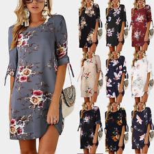 UK Womens Floral Long Tops Blouse Ladies Summer Beach Shirt Dress Plus Size 6-22