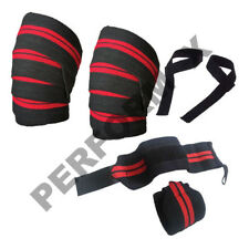 6 PCS WEIGHT LIFTING ELASTICATED KNEE WRAPS WRIST WRAPS BAR STRAPS SUPPORT GYM