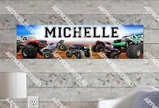 Personalized/Customized Monster Trucks Name Poster Wall Art Decoration Banner