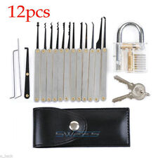 12Pcs Unlocking Lock Pick Set Key Extractor Tool Transparent Practice Padlocks