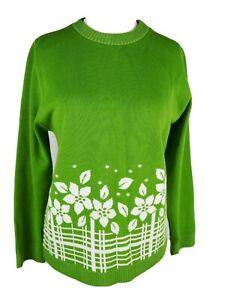 Neues AngebotFrauen grün Feinstrick Floral Langarm Pullover Größe 12 M