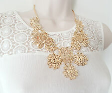 """Gorgeous 18"""" long Gold tone filigree flower design metal chain necklace"""