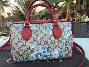 Gucci GG Supreme Monogram Blooms Small Top Handle Boston Bag Blue 546314 NWT