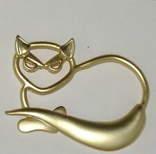 Vintage Cat Lapel Pin Broche Heavy Metal Gold Color Kitty Laying Unique Style