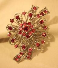 Rhinestone Flower Bouquet Silvertn Brooch Pin Lovely Large Lacy Pink & Burgundy