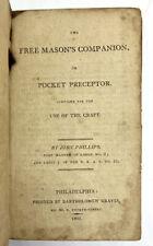 1805 Free Masons Companion Manual Songs John Phillips First Edition Philadelphia