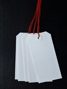 25 WHITE LUGGAGE TAGS 108MM X 54MM  GIFT LABELS TIE ON TICKETS WITH RED STRING