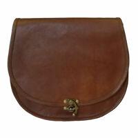 Women's Leather Vintage Saddle Shoulder Bag Crossbody Valentine Gift Brown Purse