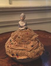 Rare French Pin Cushion Dress Lady Antique Figurine Porcelain