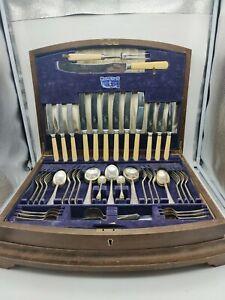 Walker & Hall 54 PCE Antique Silver Cutlery Set