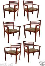 SET OF SIX ORIGINAL KNOLL signed RICCHIO SOLID CHERRY MODERN ARM DINING CHAIRS