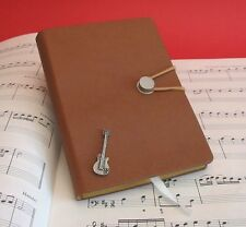 Electric Guitar Pewter Motif A6 Note Book Lined Pages Music Teacher Student Gift