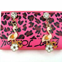 Betsey Johnson Fashion Enamel Pink  Flamingo Flowers Rhinestone Stud Earrings
