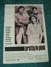 PRETTY IN PINK original Movie Poster 17 x 23 John Hughes Molly Ringwald Cryer +