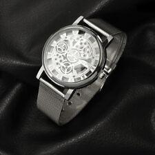 Men's Silver Quartz Wrist Skeleton Watch With Silver Dial Gift