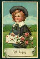 GREETINGS EMBOSSED PC BEST WISHES LITTLE BOY WITH FLOWERS & LETTER