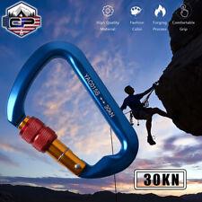 30KN Aluminum Locking Carabiner Clip D-Ring Screw Hook for Outdoor Climbing Rock