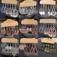 Boho Gypsy Tassel Hook Dangle Earrings Tribal Ethnic Festival Women Jewelry Set