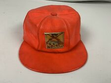 Vintage Orange Leather Youth Size 7 Hunting Hat Cap Ear Flap