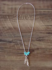 Zuni Indian Turquoise Feather Necklace by Floria Shetima