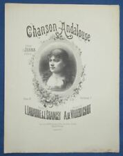 PIANO CHANT JUANA PARTITION CHANSON ANDALOUSE VILLEBICHOT GRANCEY 1884 ILL FUCHS