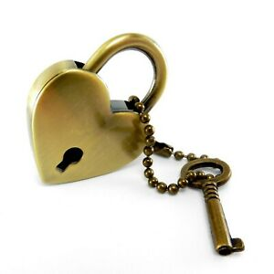 Padlock in the shape of a heart and key, Heart Shaped Padlock, Old Brass , AJZ