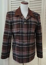 8 PENDLETON WOOL BROWN PLAID BARN JACKET SUEDE CLOTH COLLAR