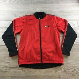 LOUIS GARNEAU Womens Full Zip Cycling Jacket Red/Black Sz M Made in Canada