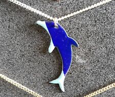 Blue Dolphin, Enamel on Copper Pendant Costume Jewellery