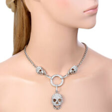 Halloween Skull Necklace Pendant Clear Austrian Crystal Rhinestone Party Gift