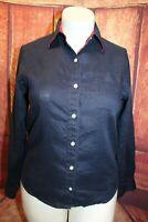 Lauren Ralph Lauren Navy Blue Linen Button Down Shirt Top Blouse Roll Tab Small