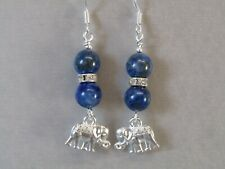 Lapis Lazuli, Crystal & Lucky Elephant Sterling Silver Dangle Earrings Stunning!