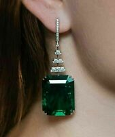 4Ct Emerald Cut Green Emerald & Diamond Drop/Dangle Earrings 14K White Gold Fn