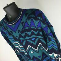 Vintage 90s Botany 500 Blue Green White Geometric Knit Sweater Mens Size XL