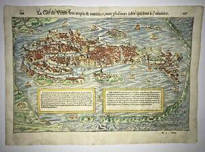 VENICE ITALY 1568 SEBASTIAN MUNSTER LARGE UNUSUAL ANTIQUE VIEW 16TH CENTURY