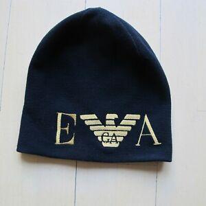 Armani Ski New winter hat cap beanie wool & acrylic black size S RRP£120!!!