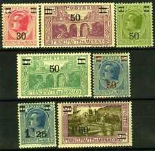 1926-31 MONACO N°104/110 TIMBRES POSTE SURCHAGES xx