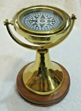 Nautical Antique Gimbled Brass Compass With Stand Wooden Base