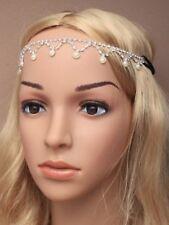 NEW Crystal diamante and pearl bead headchain tiara wedding bride prom