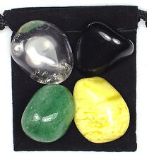 CHOLESTEROL CONTROL Tumbled Crystal Healing Set  = 4 Stones + Pouch +Description