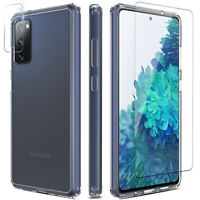 For Samsung Galaxy S20 FE 5G Case Clear TPU Cover/Camera/Glass Screen Protector