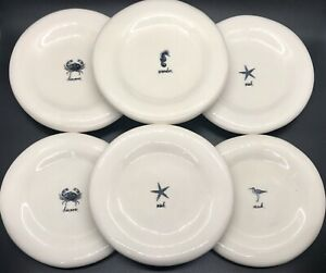 """Rae Dunn Artisan Collection by Magenta 6"""" Snack Plates SET OF 6 Nautical Beach"""