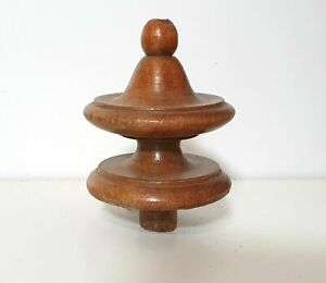 Small antique turned wood finial Furniture ball topper Salvaged post end