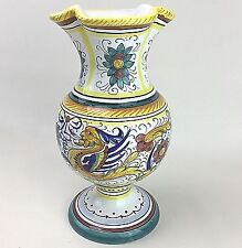 Deruta Majolica Italian Pottery Flower Floral Vase Ceramic Italy